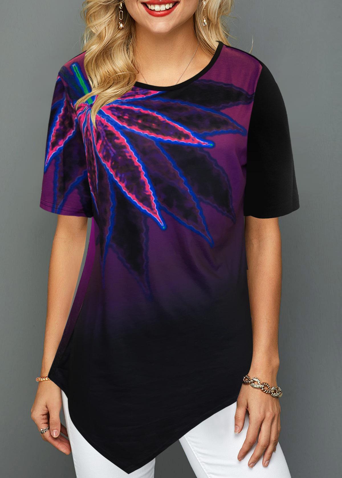 ROTITA Round Neck Psychedelic Print Asymmetric Hem T Shirt