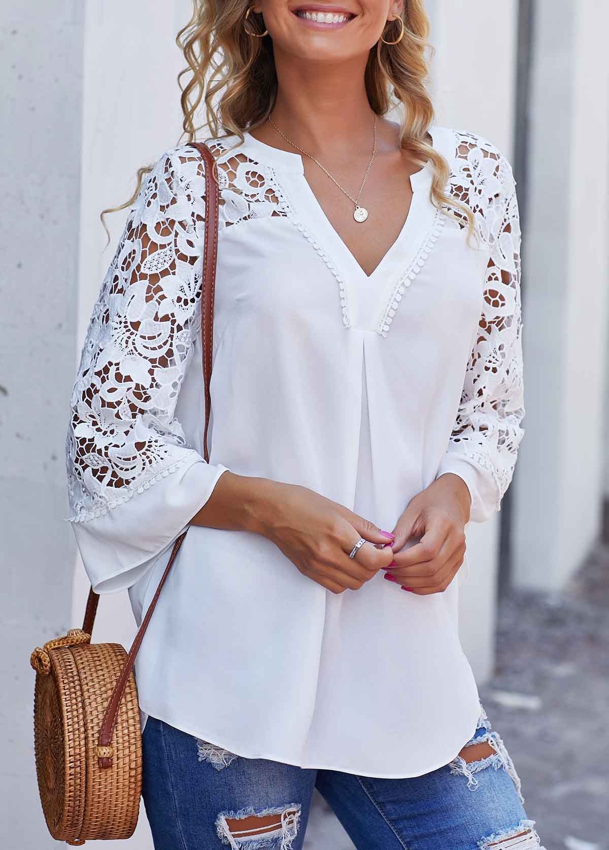 Lace Panel Side Slit Split Neck Blouse