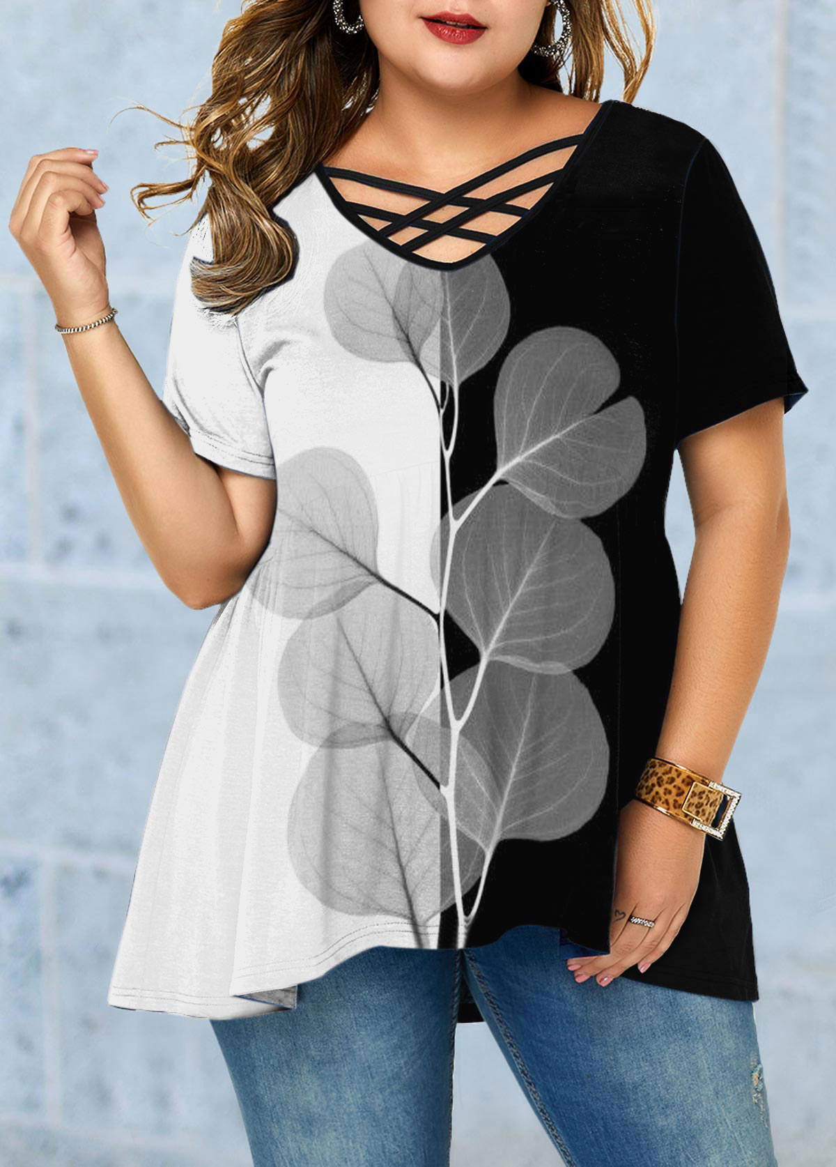 Short Sleeve Color Block Plus Size T Shirt