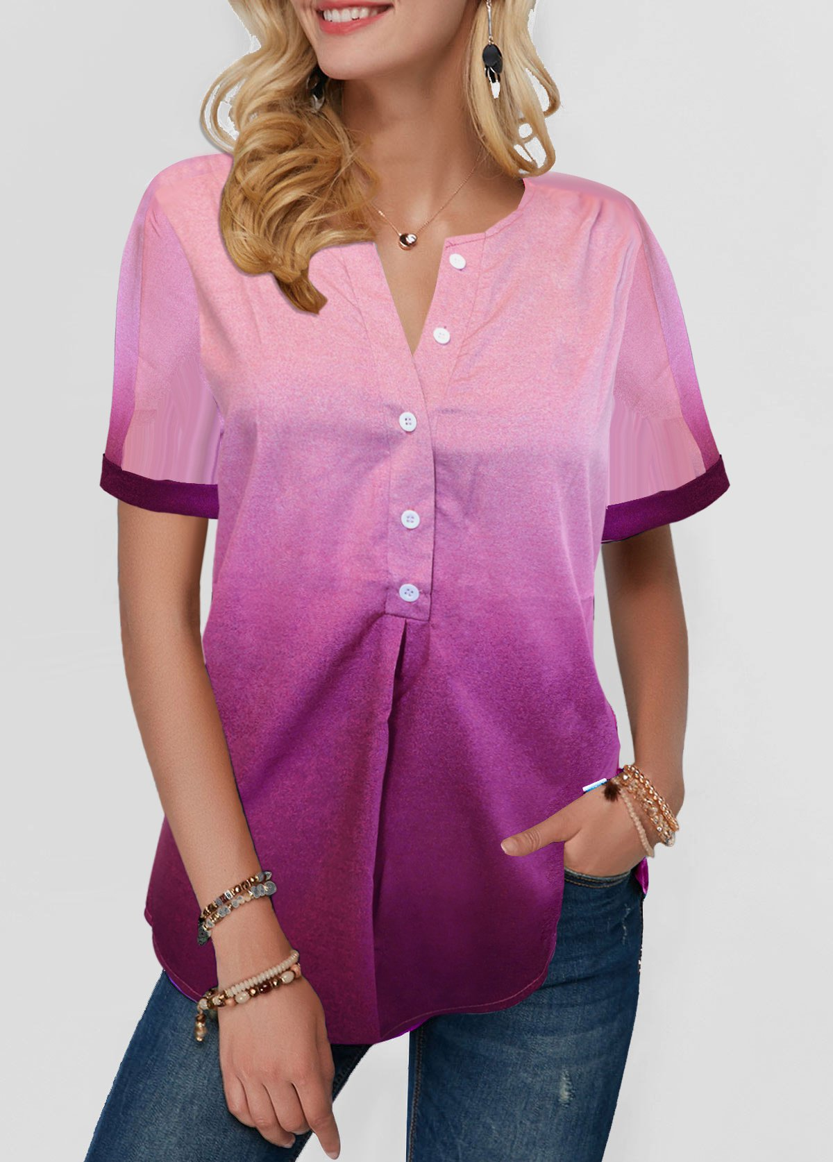 ROTITA Button Detail Split Neck Dazzle Color Blouse