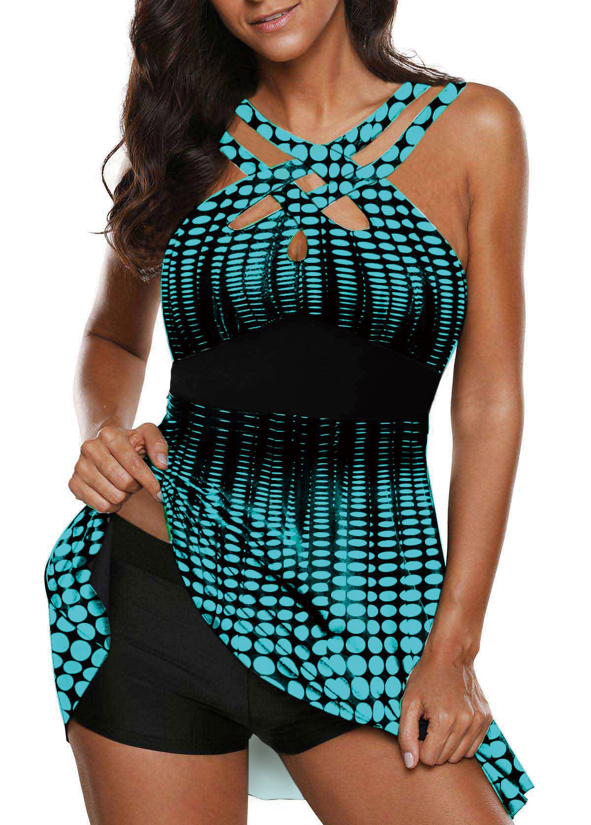 Open Back Printed Cutout Front Swimdress and Shorts