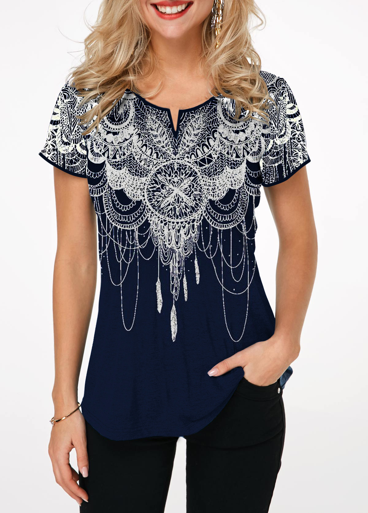 Split Neck Short Sleeve Retro Print T Shirt