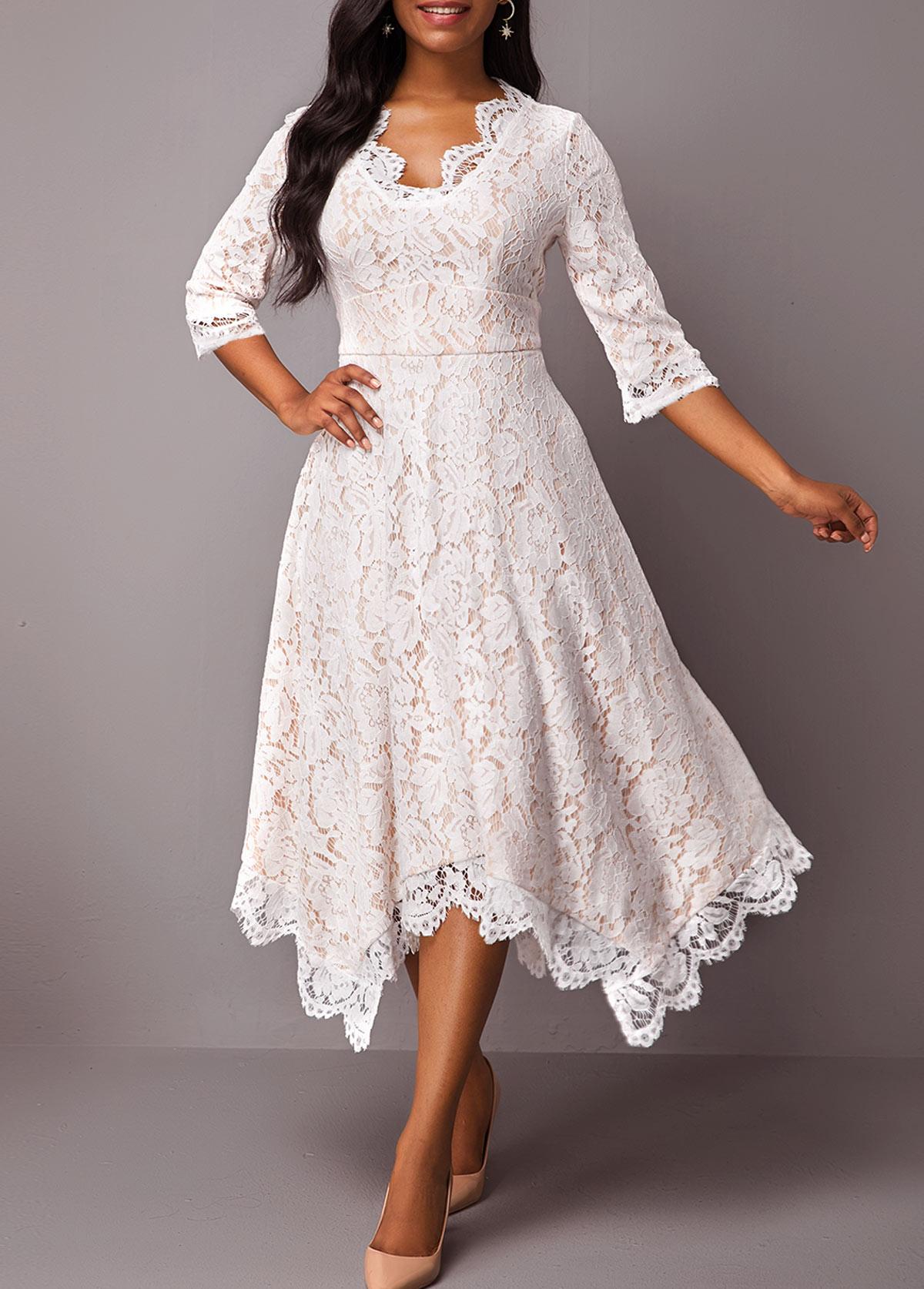 Asymmetric Hem High Waist Three Quarter Sleeve Lace Dress