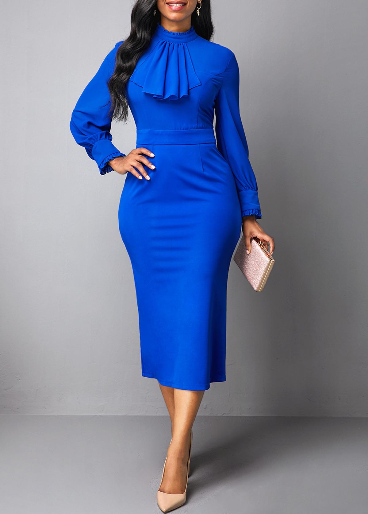 Royal Blue Mock Neck Back Slit Dress