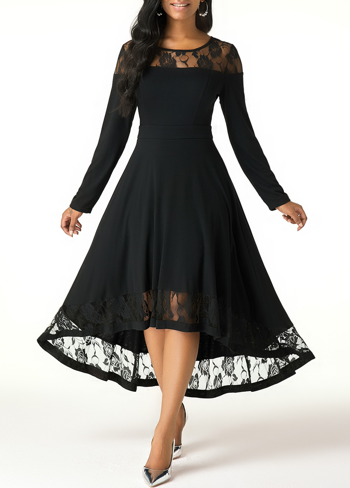 High Low Lace Patchwork Long Sleeve Dress