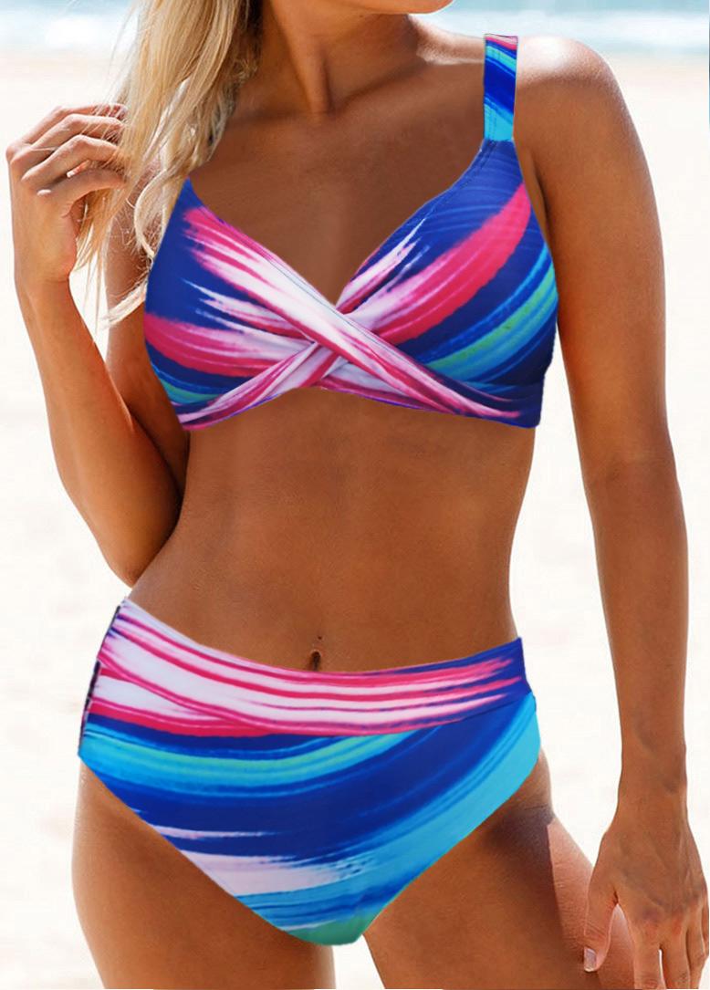 Printed Cross Front High Waist Bikini Set