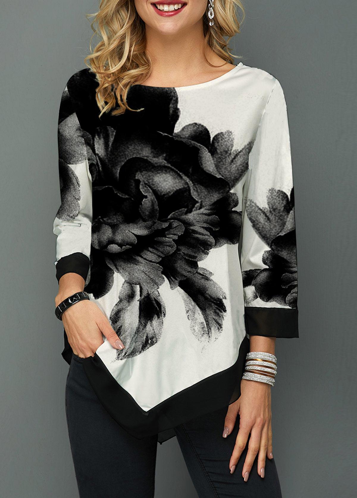 Asymmetric Hem Chiffon Patchwork Flower Print Blouse