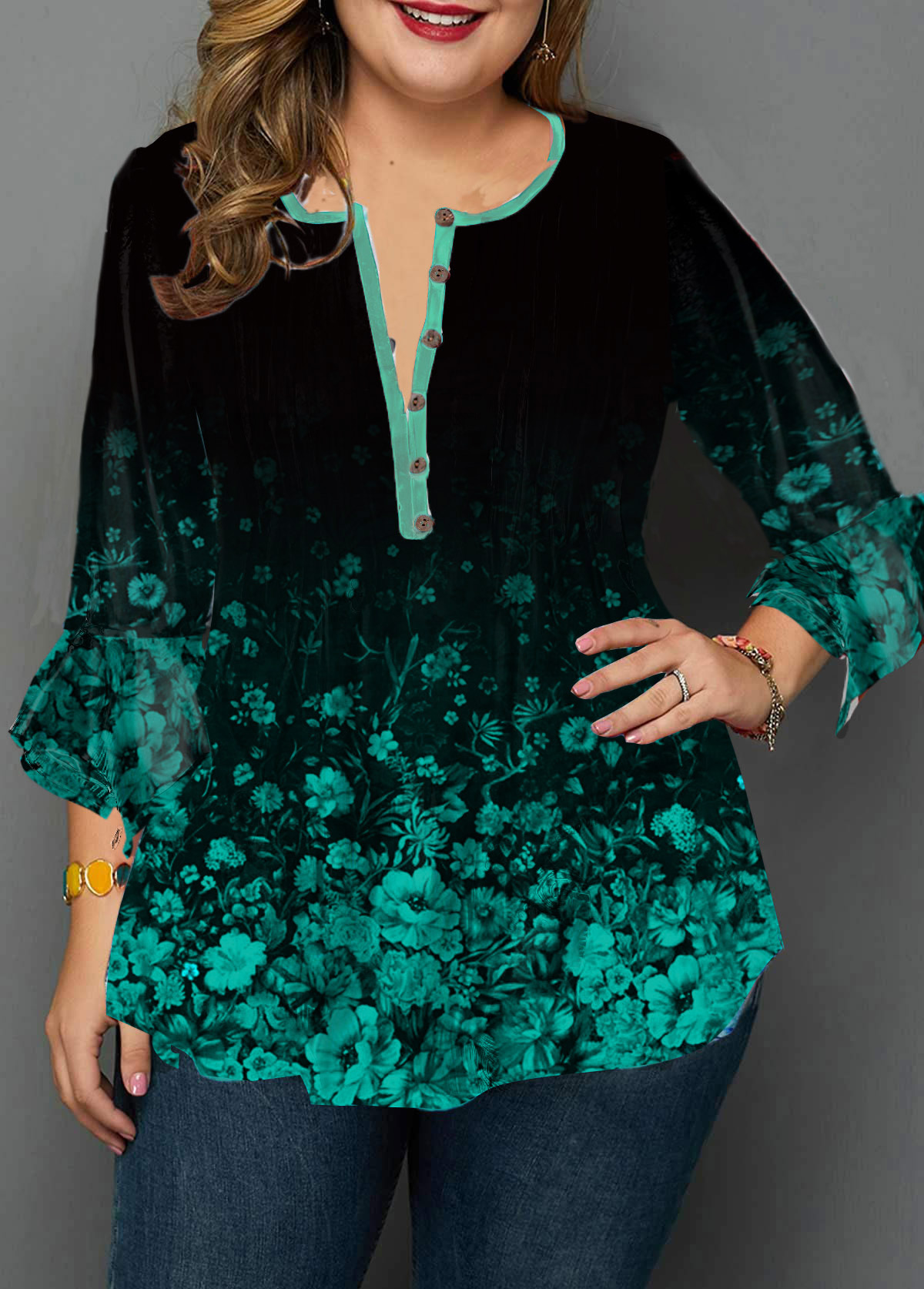 Button Front Flower Print Plus Size Blouse