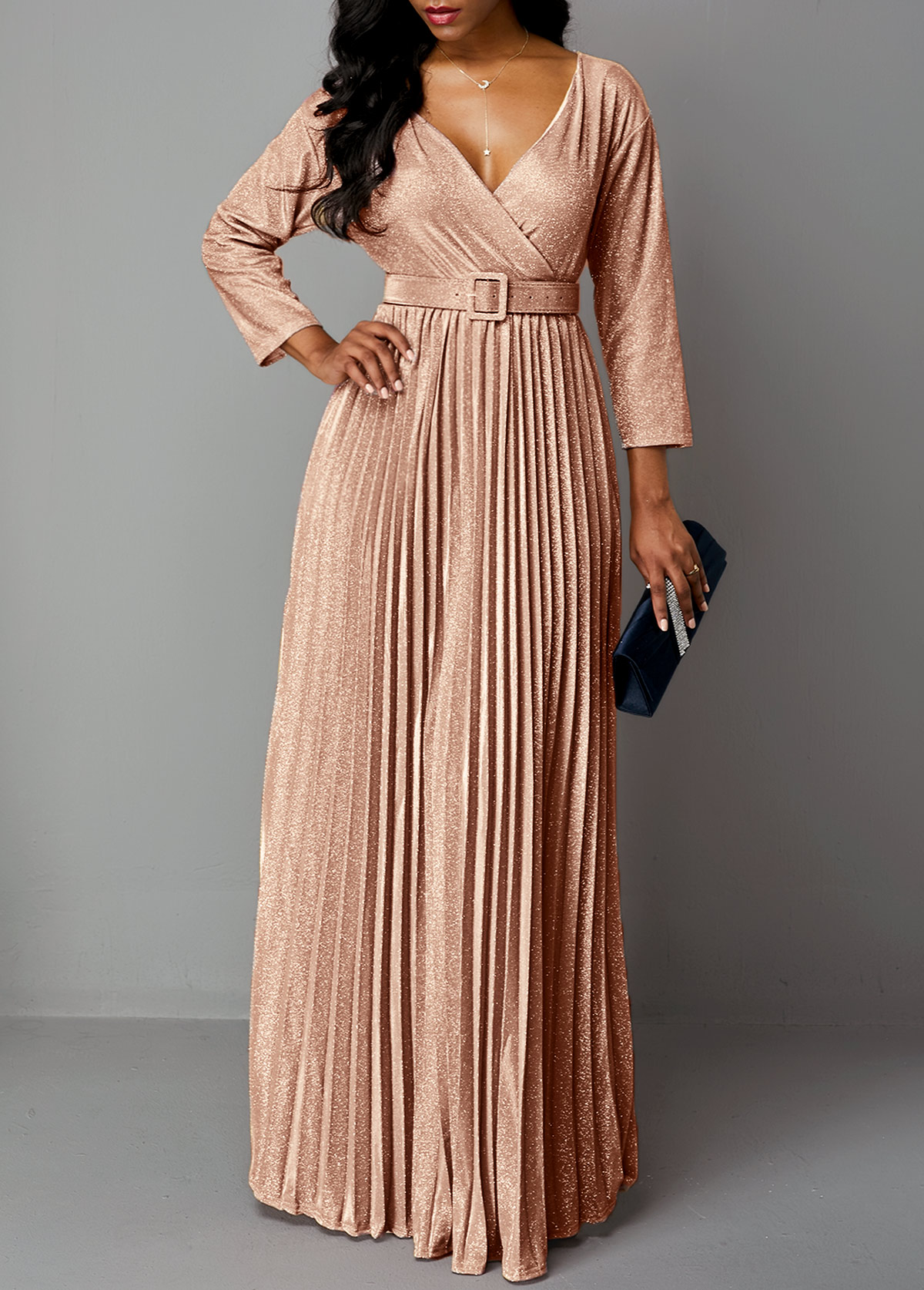 Hot Stamping Pleated Hem Plunging Neck Maxi Dress