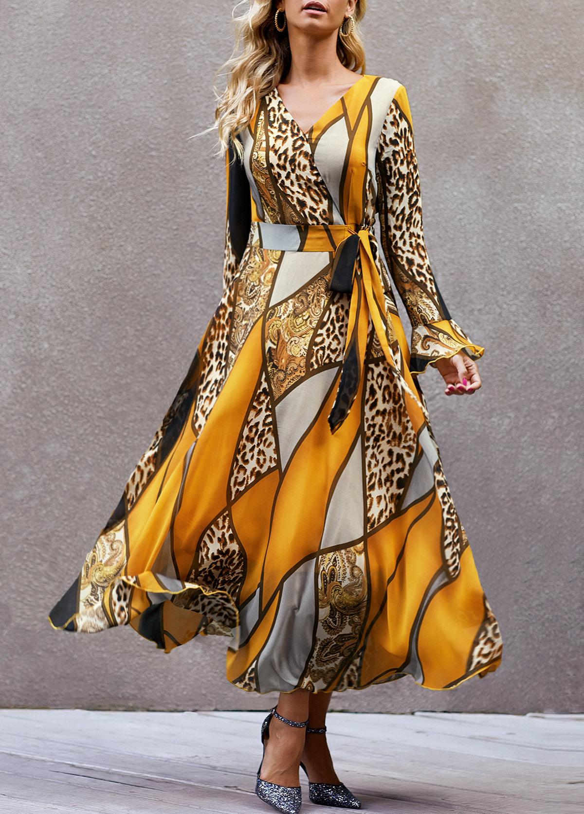 V Neck Leopard Print High Waist Dress