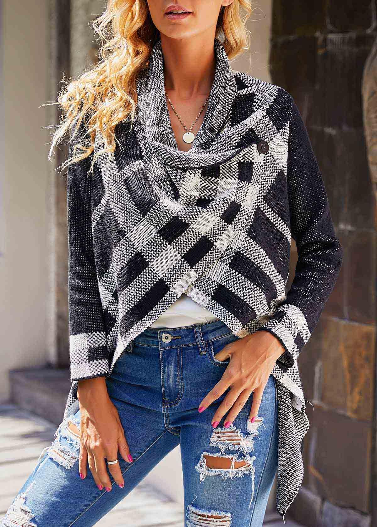 Long Sleeve Plaid Pattern Asymmetric Hem Sweater