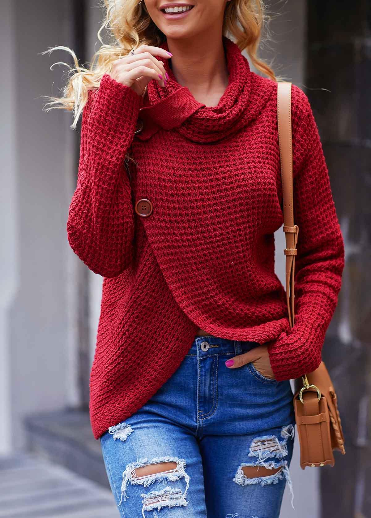 ROTITA Button Detail Asymmetric Hem Wine Red Sweater