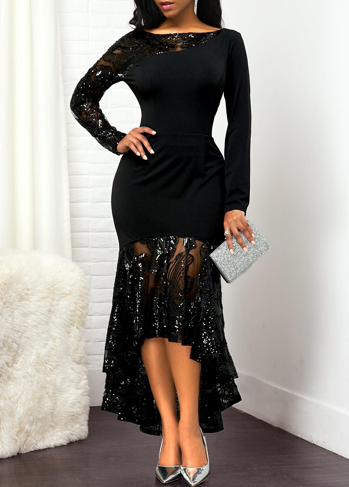 Lace Panel High Low Back Zipper Dress