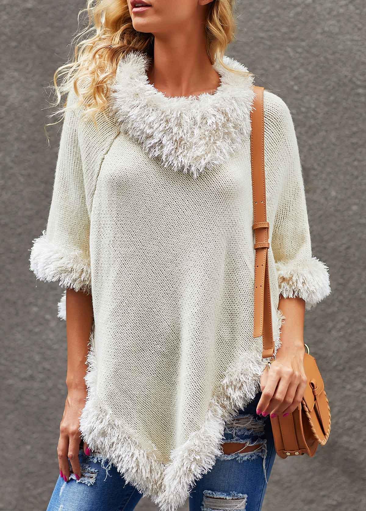 White Three Quarter Sleeve Asymmetric Hem Sweater