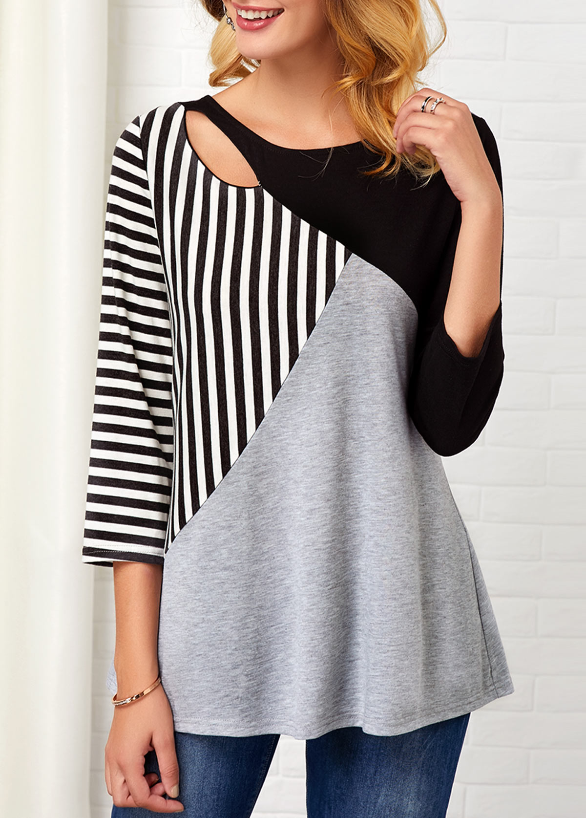 Stripe Print Three Quarter Sleeve Hollow Front T Shirt