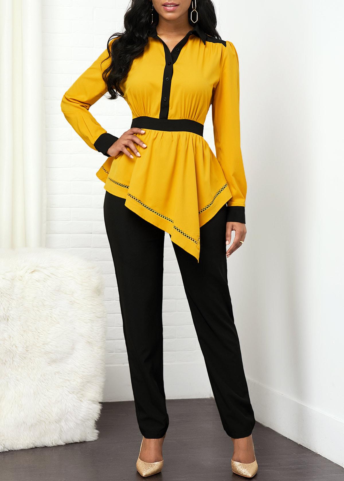 Peplum Waist Turndown Collar Long Sleeve Jumpsuit