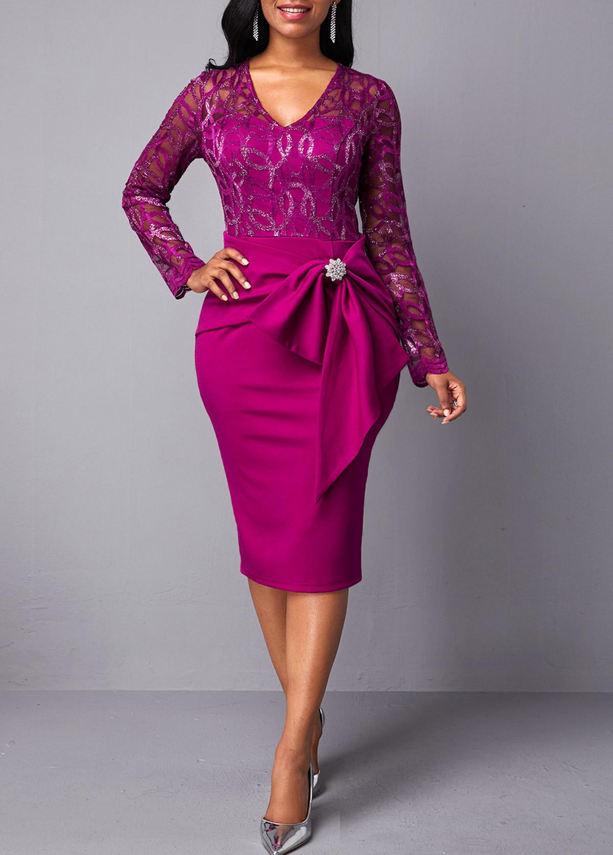 V Neck Lace Panel Rhinestone Embellished Dress