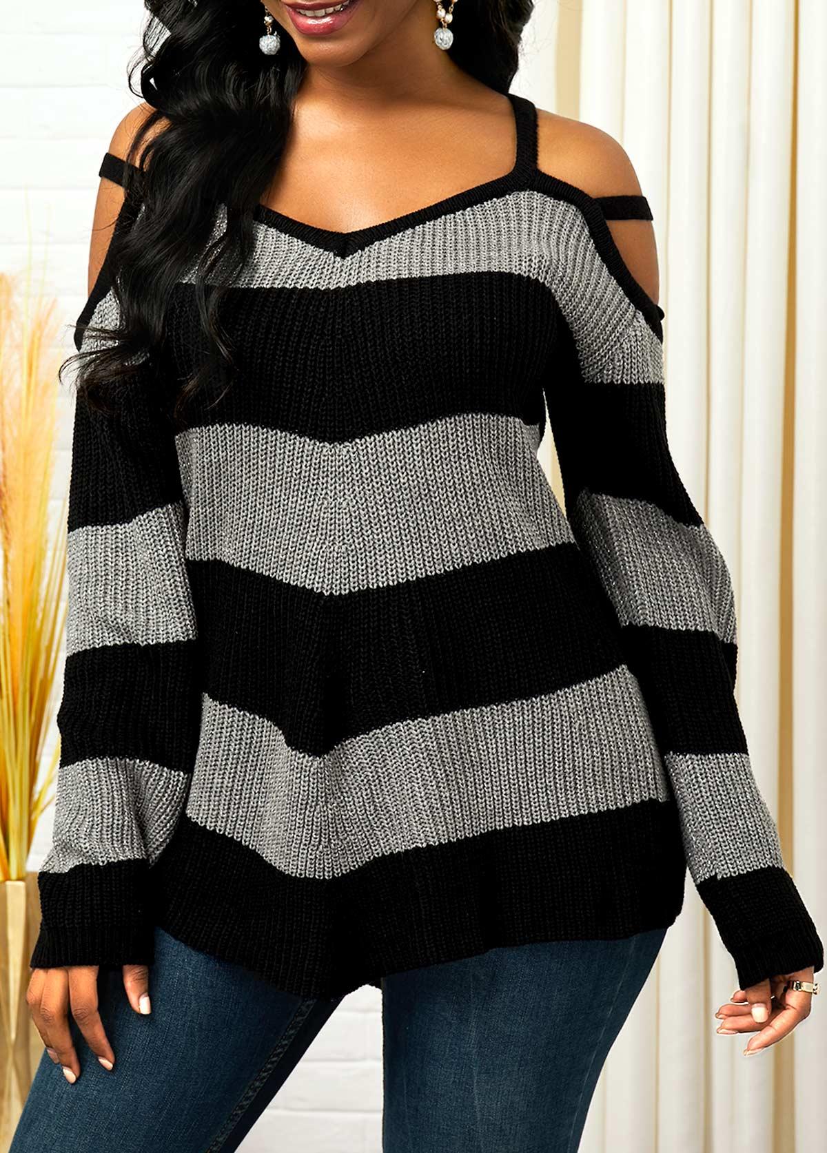 ROTITA Color Block Long Sleeve Cold Shoulder Sweater