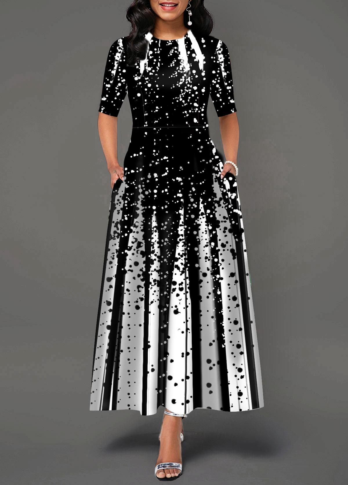 Round Neck Printed Half Sleeve Maxi Dress