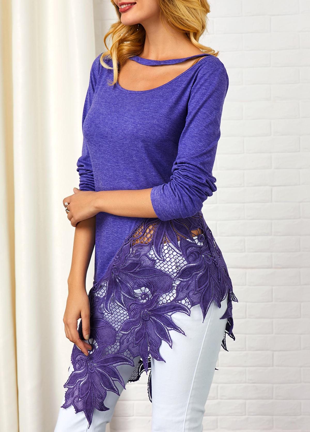 Asymmetric Hem Lace Patchwork Long Sleeve T Shirt
