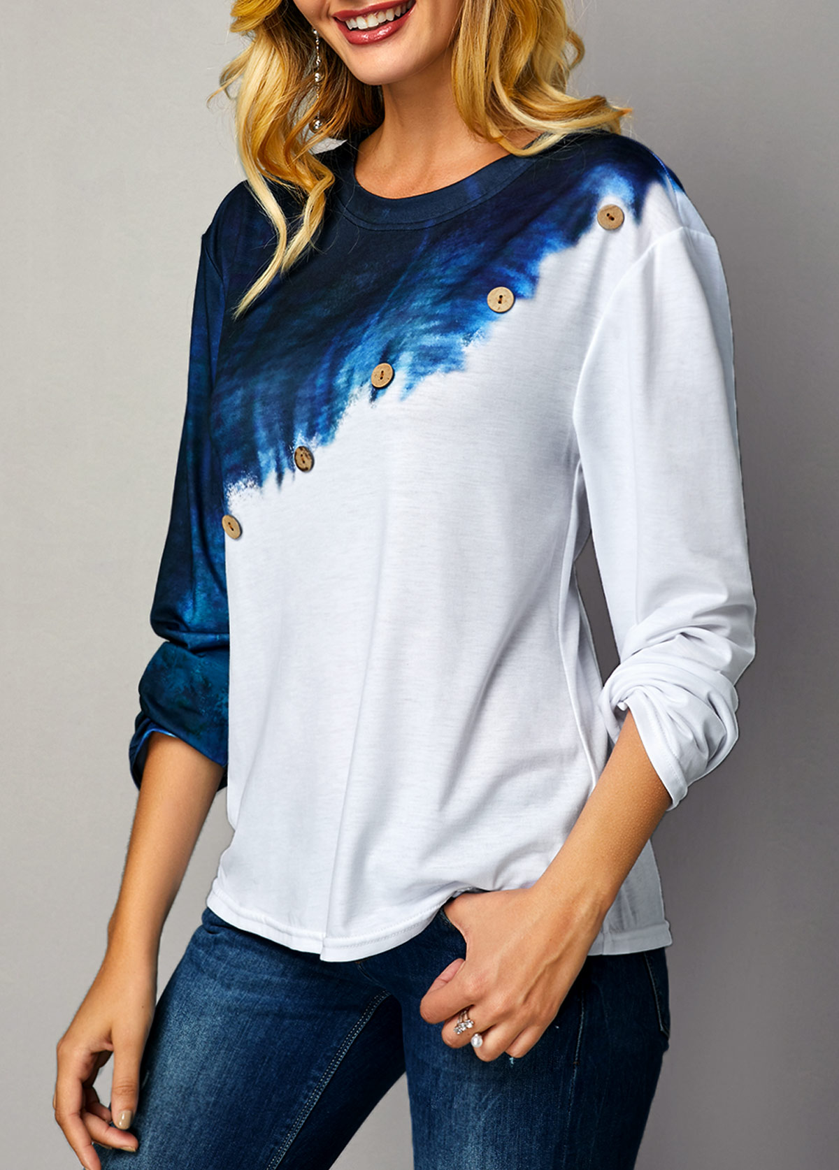 Button Detail Color Block Long Sleeve T Shirt