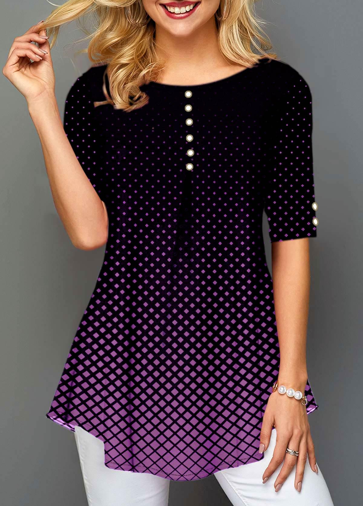 Polka Dot Print Half Sleeve Pearl Embellished Blouse