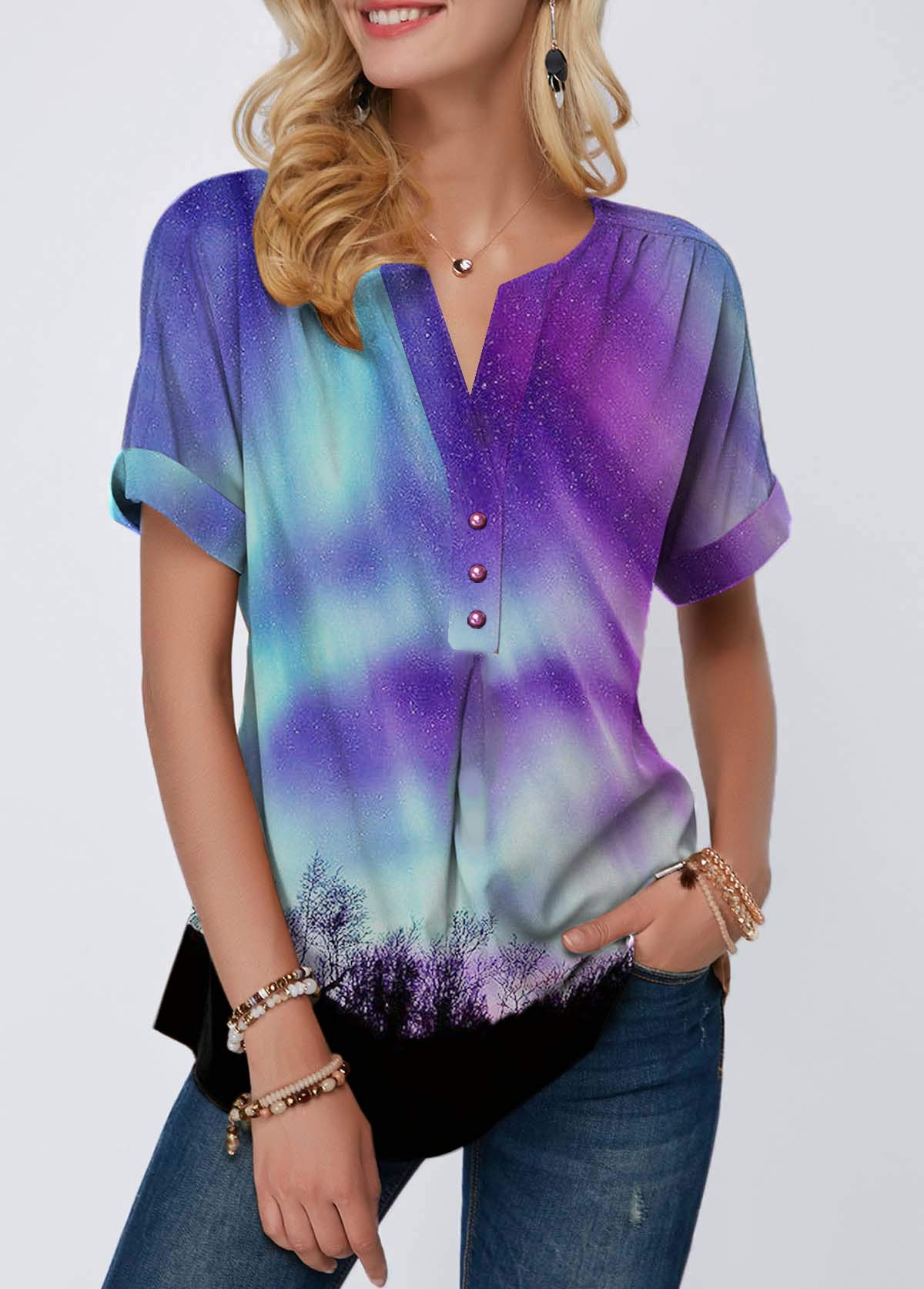 Button Front Split Neck Printed T Shirt