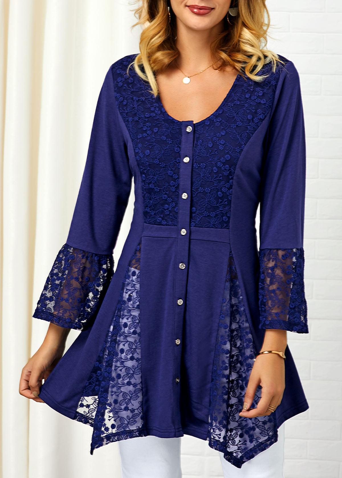 Asymmetric Hem Button Up Lace Panel Shirt