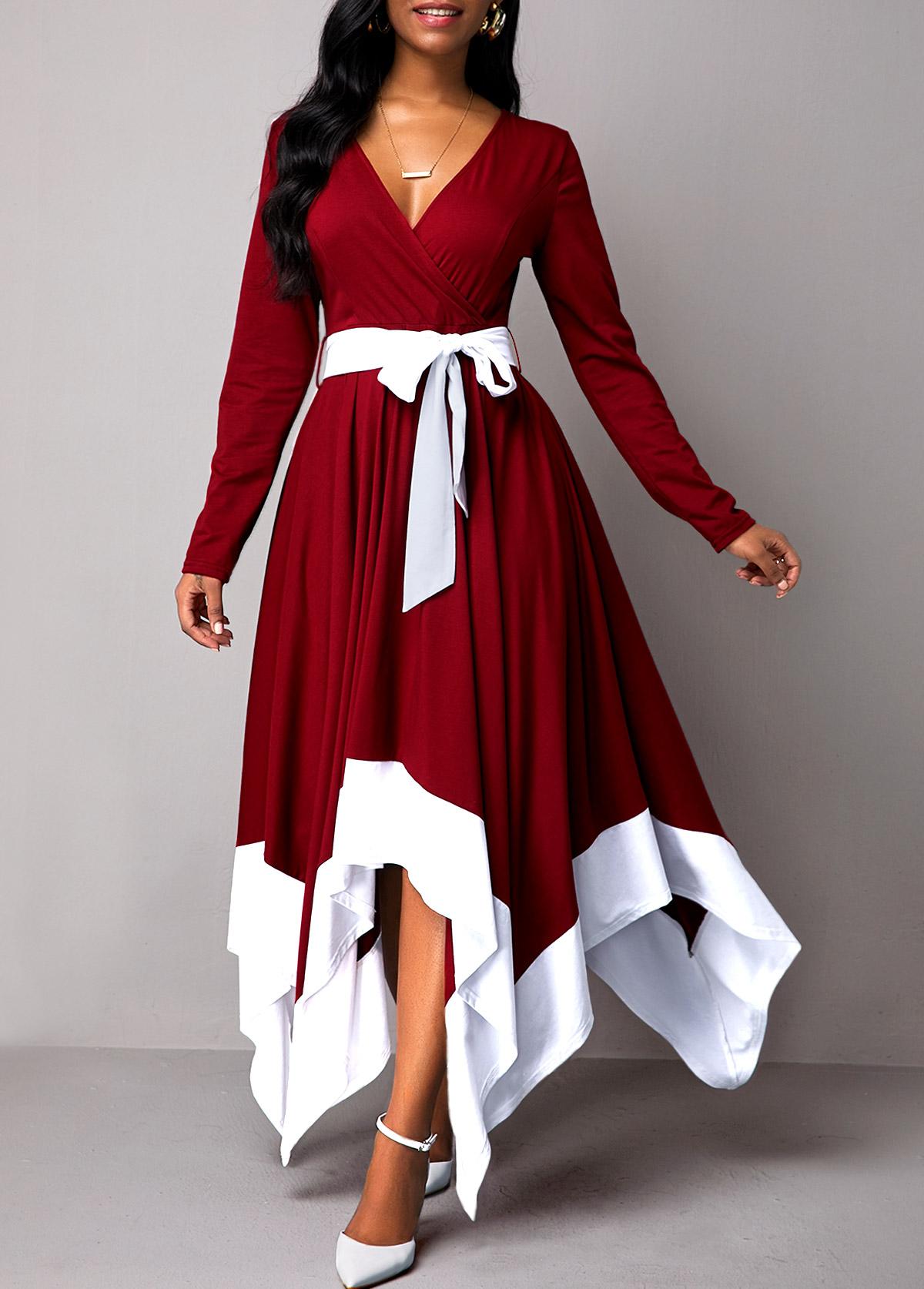 Belted Asymmetric Hem Long Sleeve Maxi Dress