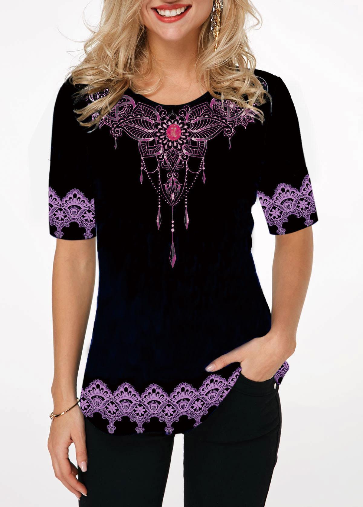 Tribal Print Rhinestone Embellished Round Neck T Shirt
