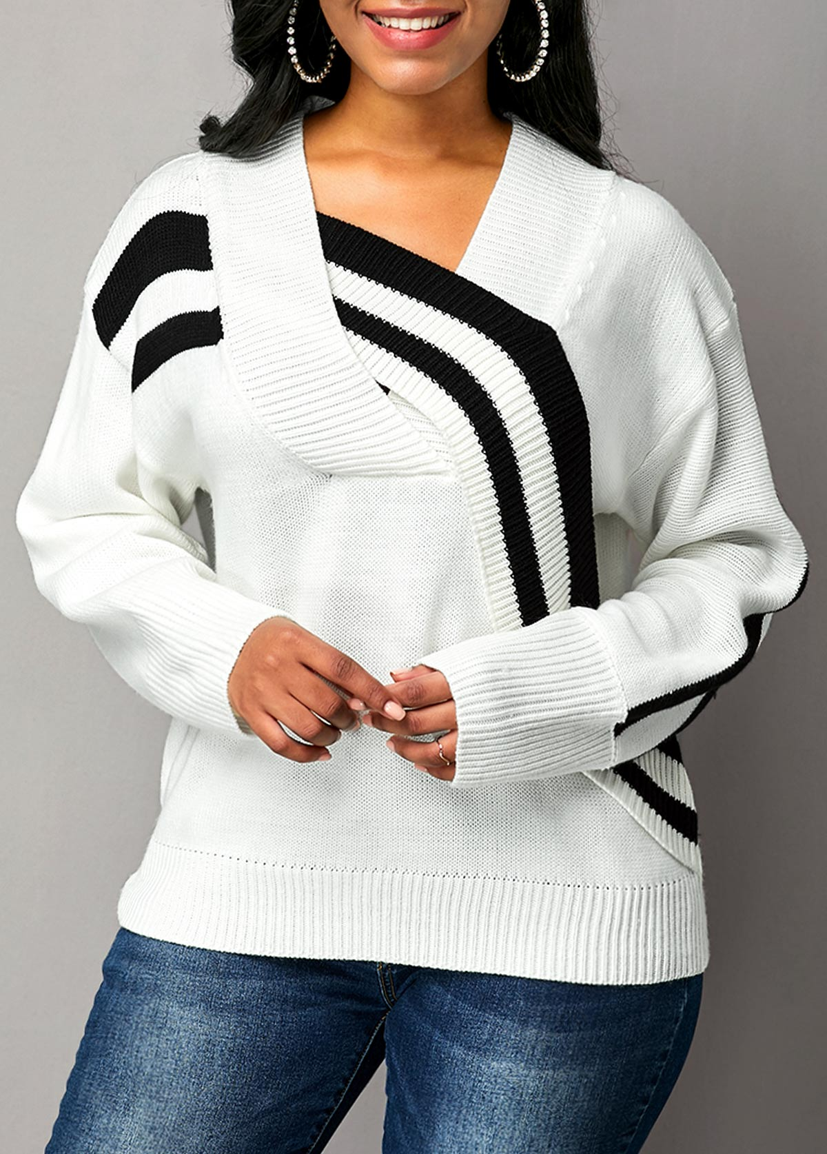 White Long Sleeve Cross Front Sweater