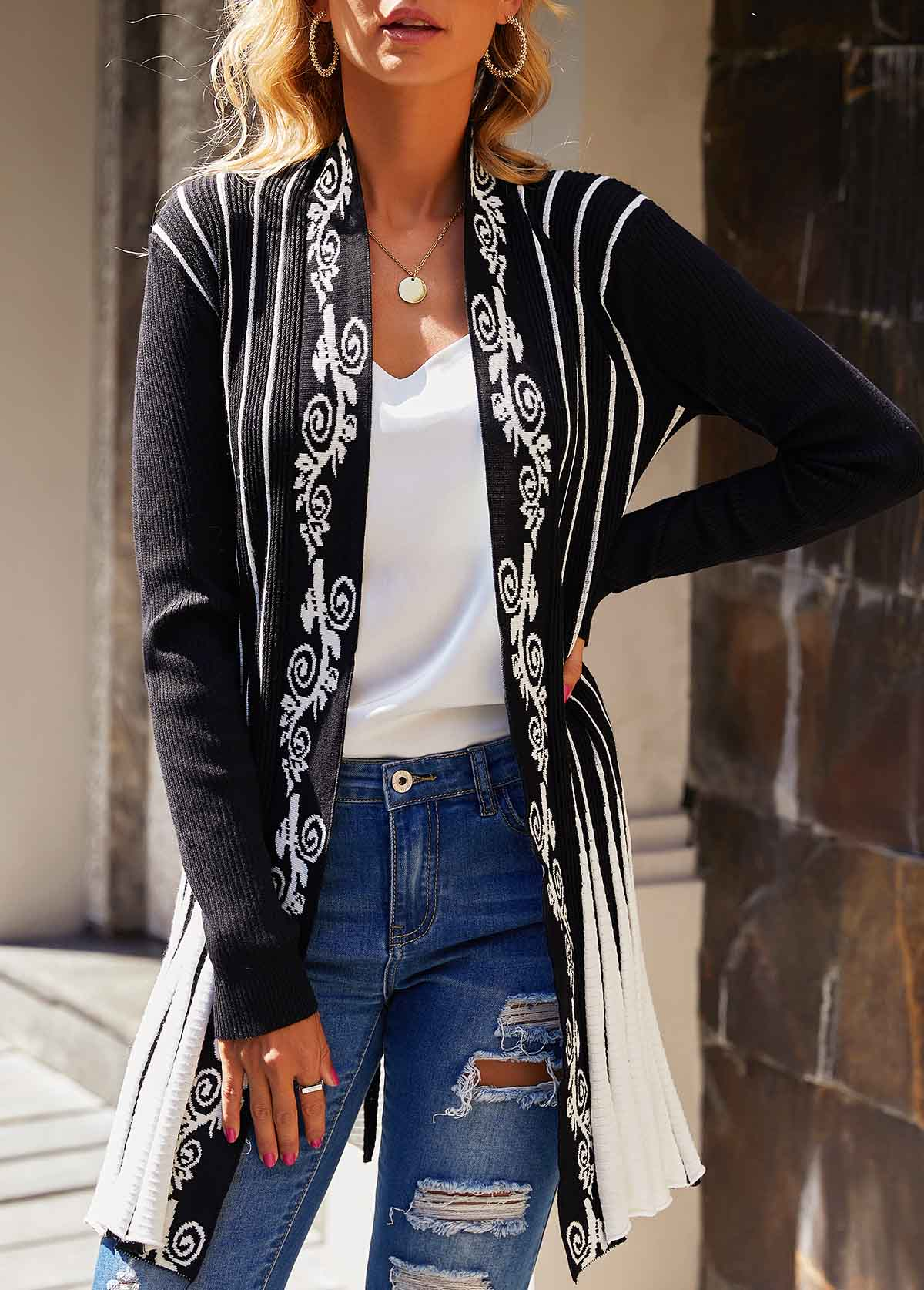 Striped Open Front Long Sleeve Cardigan
