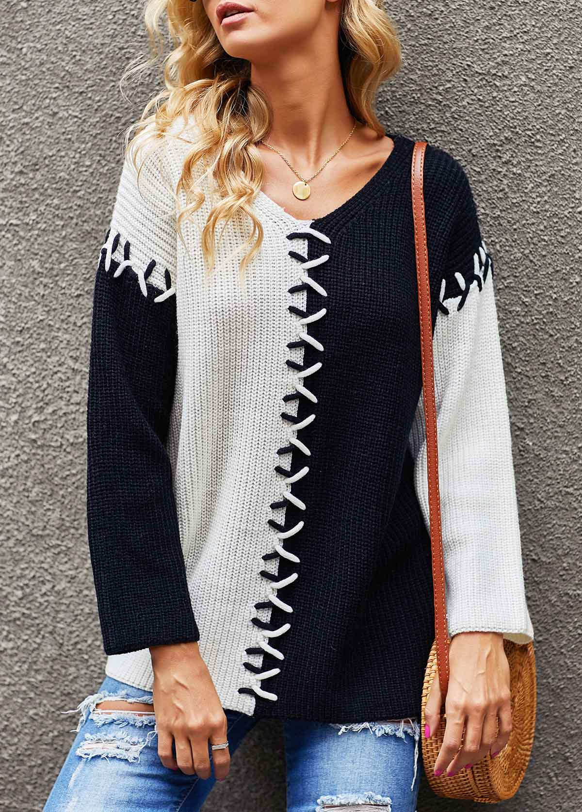 Lace Up Color Block V Neck Sweater