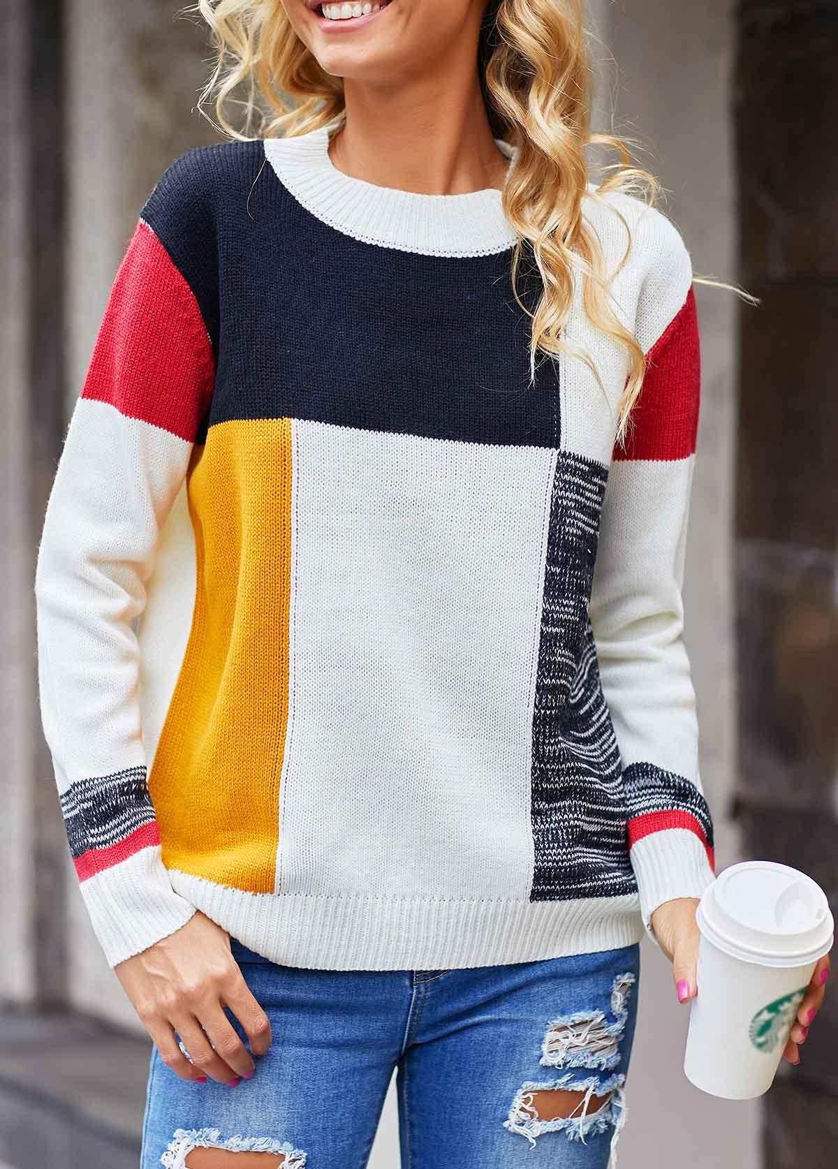 Geometric Pattern Long Sleeve Round Neck Sweater