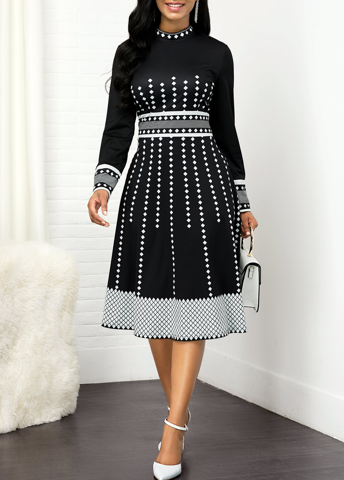 Geometric Print Long Sleeve Mock Neck Dress