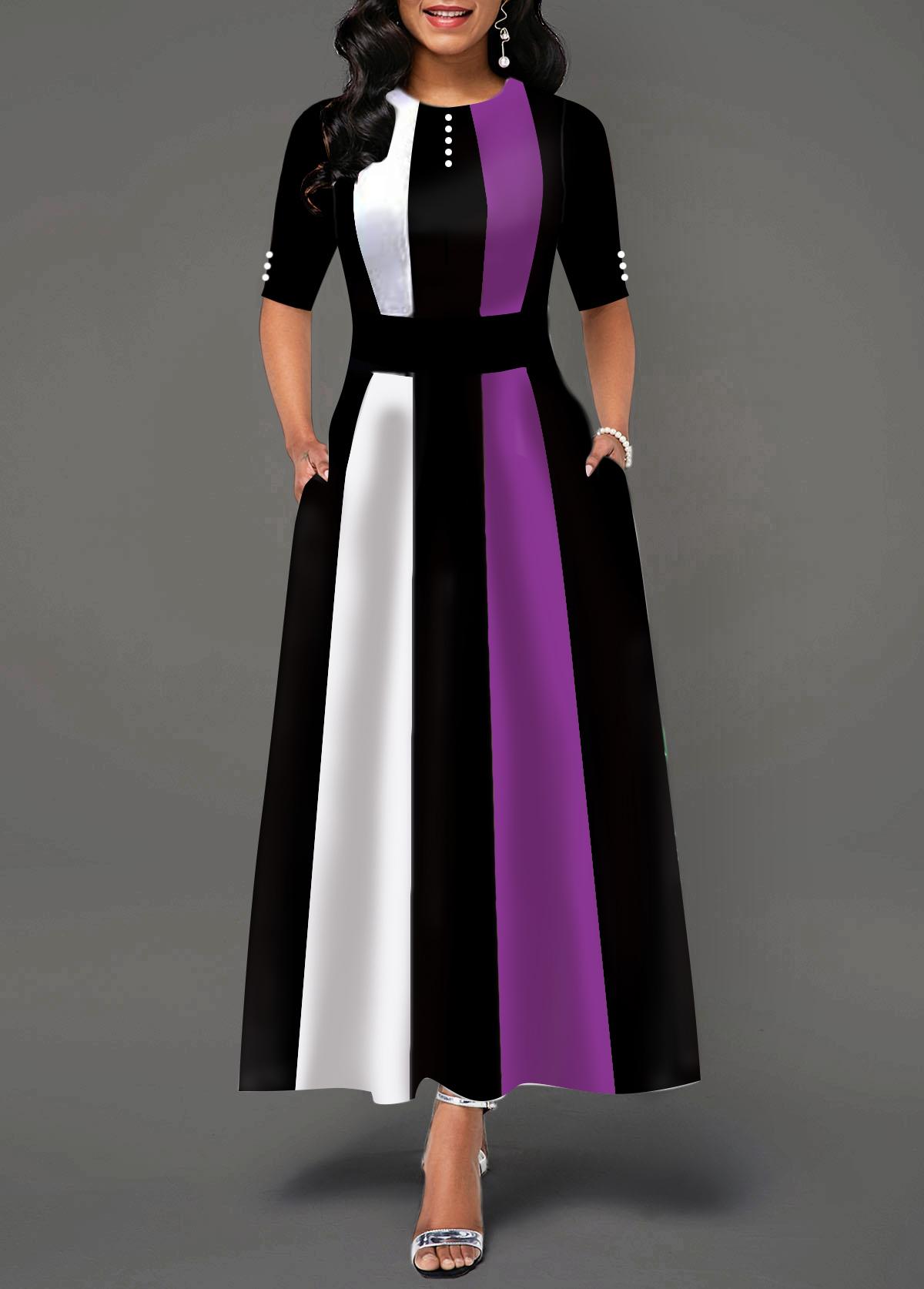 Button Detail Round Neck Half Sleeve Maxi Dress