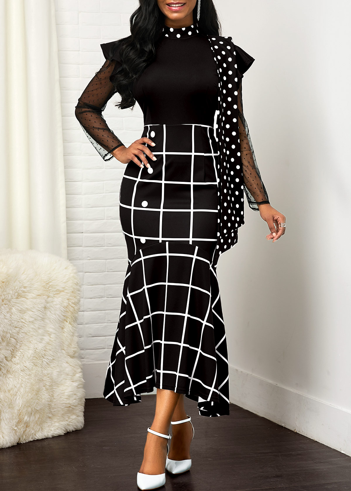 ROTITA Mock Neck Plaid and Dot Print Dress