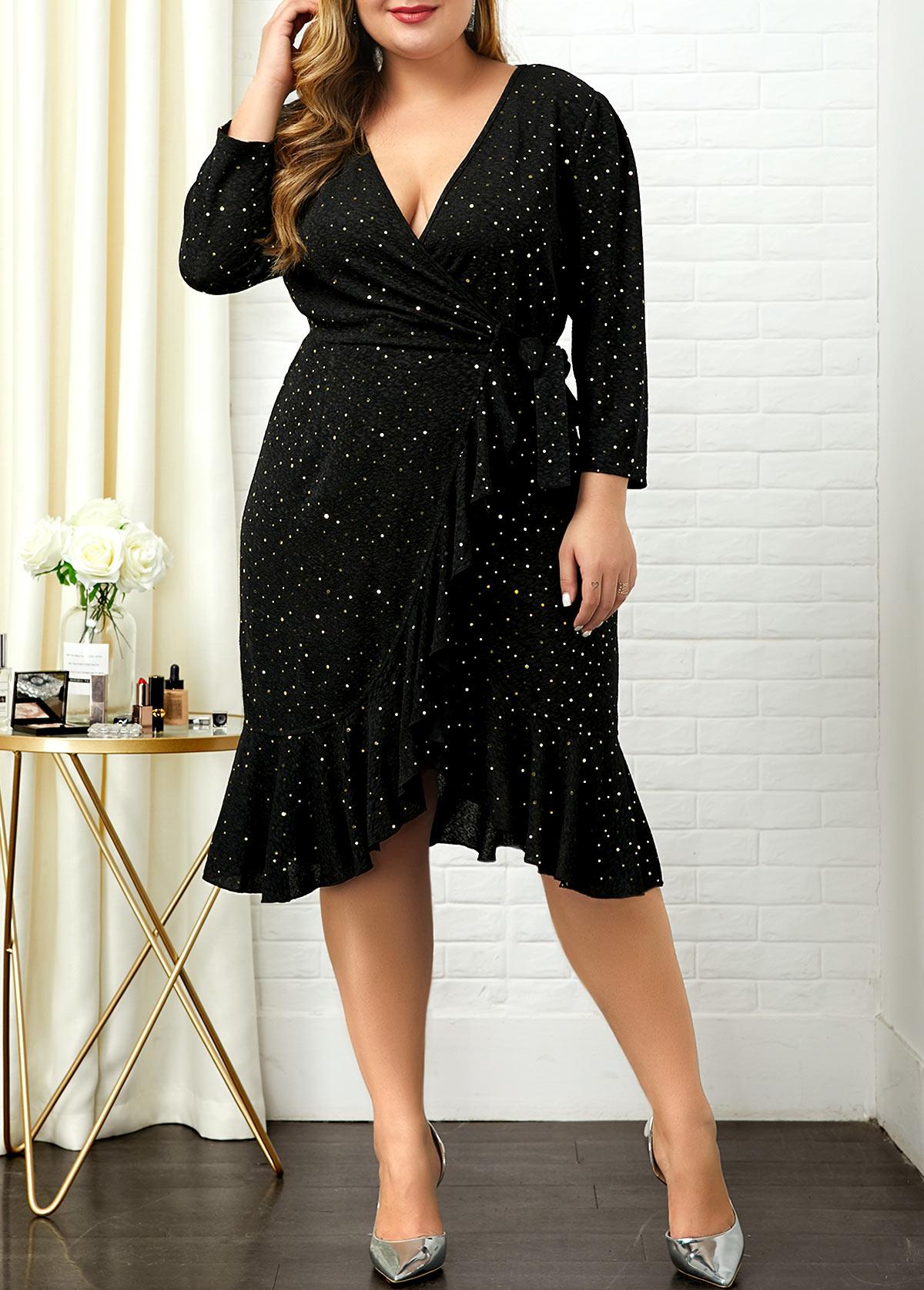 Sequin Embellished V Neck Plus Size Dress