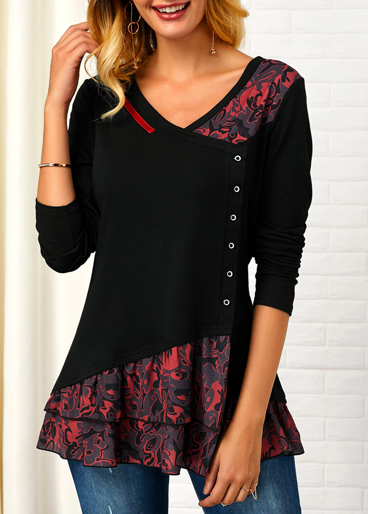 V Neck Printed Button Front T Shirt