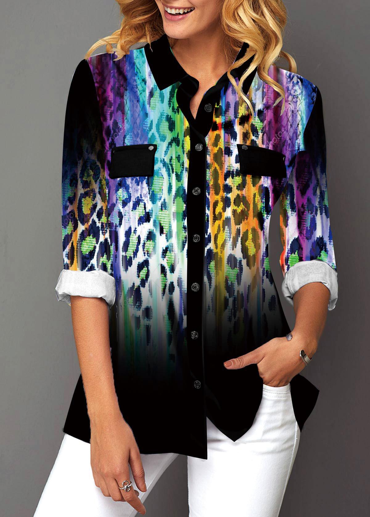 Gradient Leopard Print Turndown Collar Button Up Blouse
