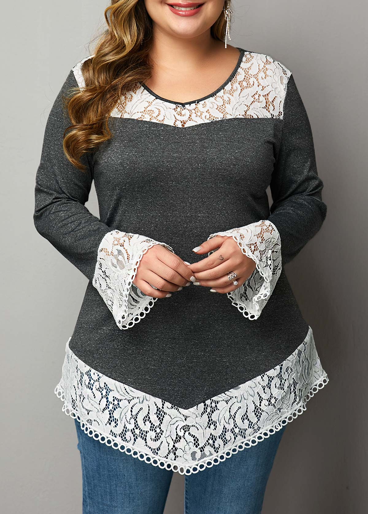 ROTITA Lace Patchwork Plus Size Flare Sleeve T Shirt