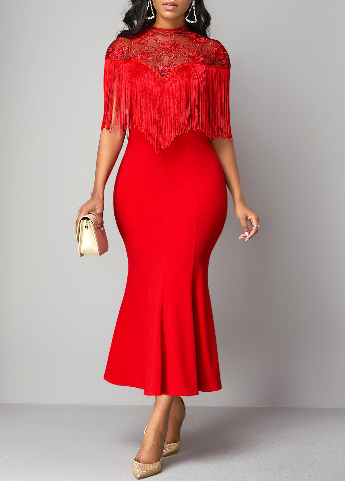 Ruffle Hem Tassel Embellished Lace Patchwork Dress