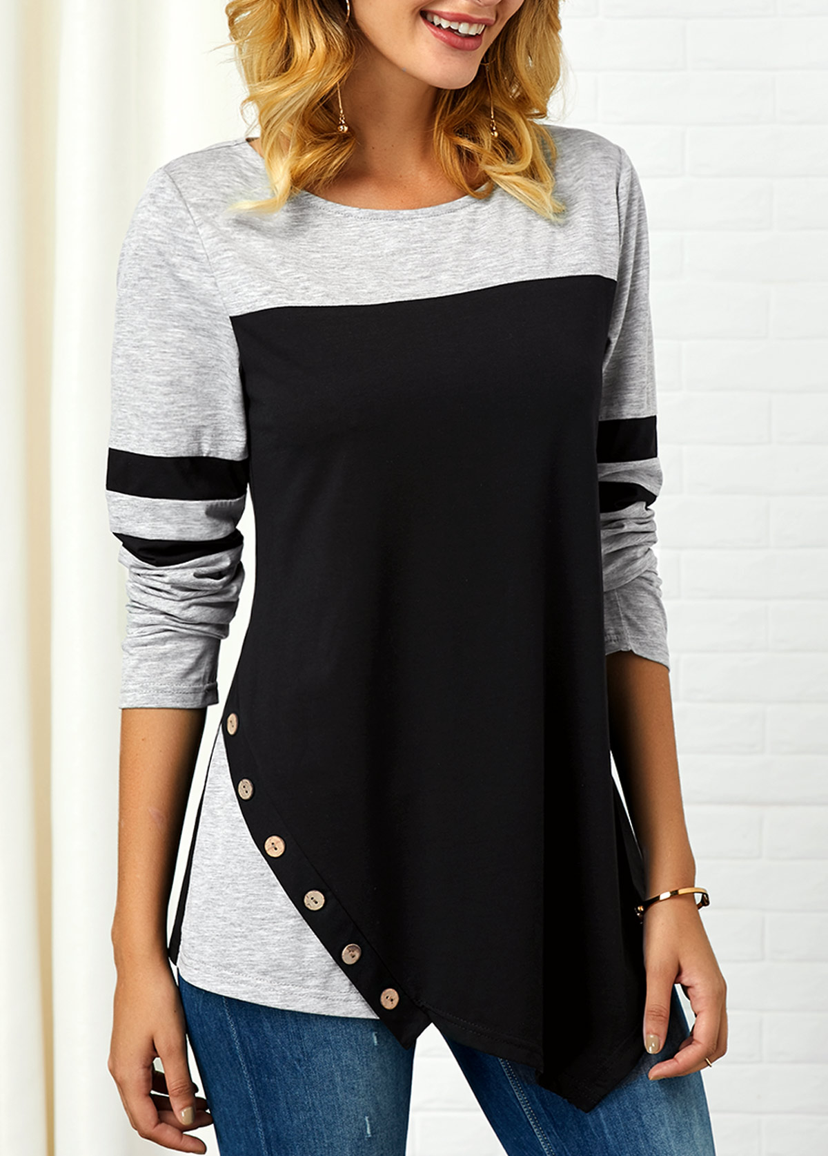 ROTITA Long Sleeve Button Detail Asymmetric Hem T Shirt