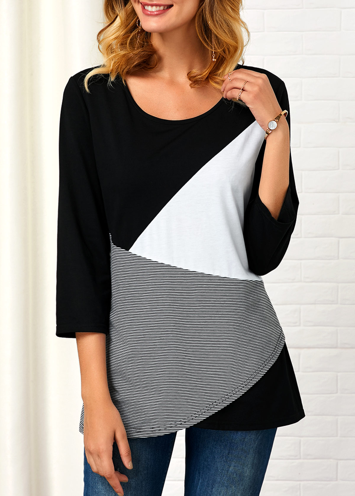 ROTITA Round Neck Striped Three Quarter Sleeve T Shirt