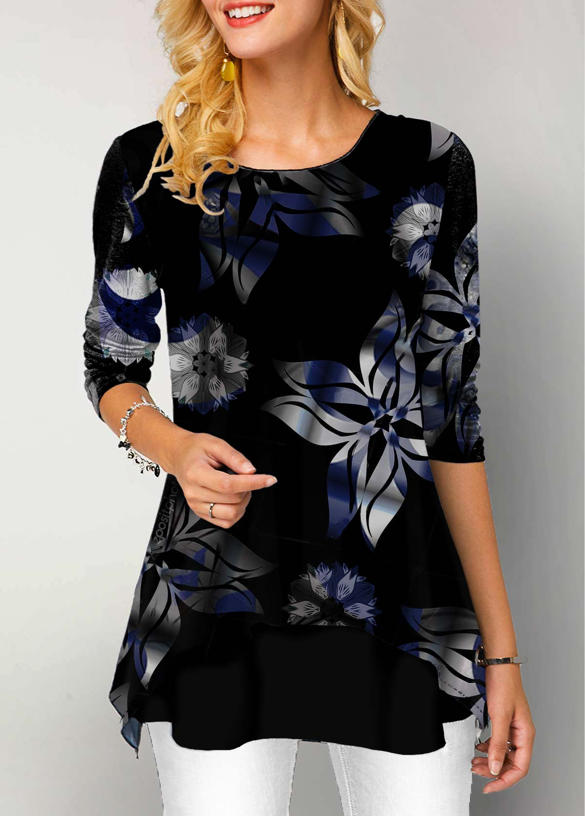 Floral Print Long Sleeve Round Neck T Shirt
