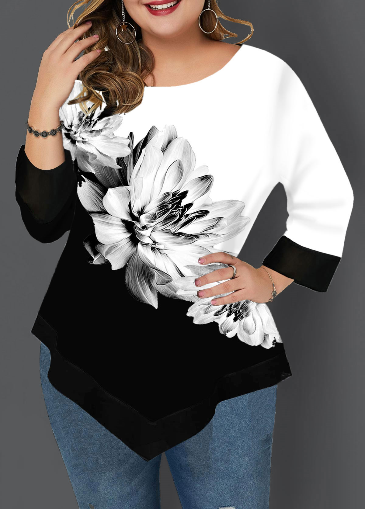 Asymmetric Hem Plus Size Three Quarter Sleeve T Shirt