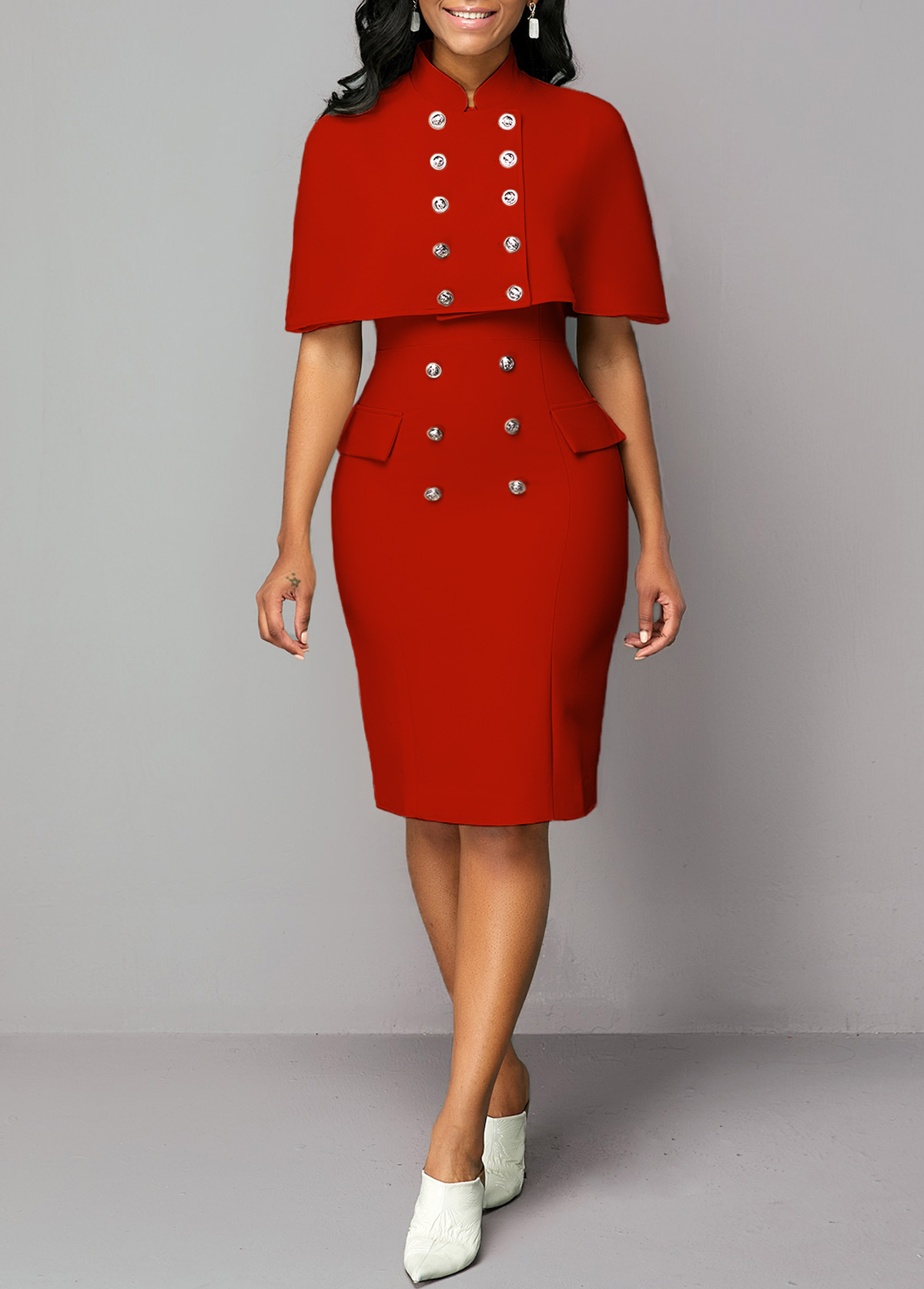 Cape Shoulder Button Detail Top and Sheath Dress