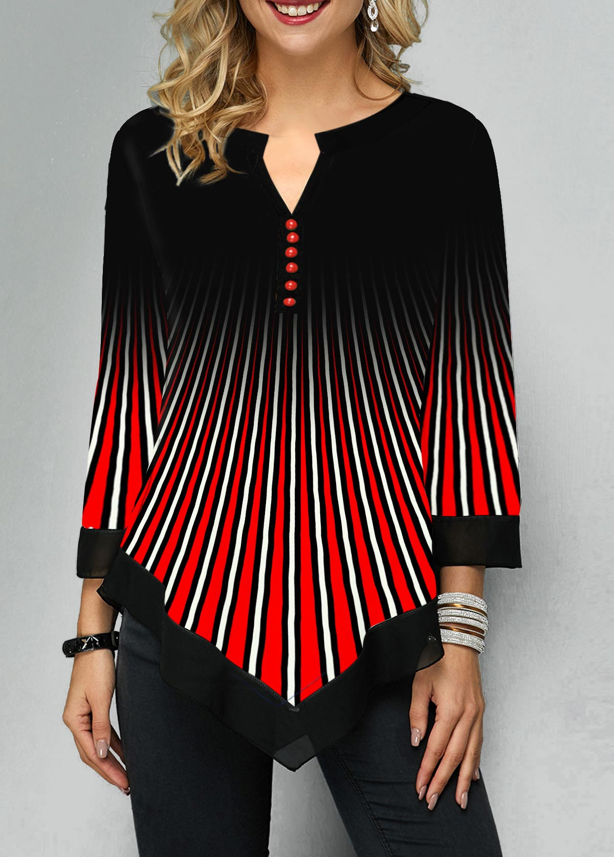 Asymmetric Hem Split Neck Button Detail Blouse