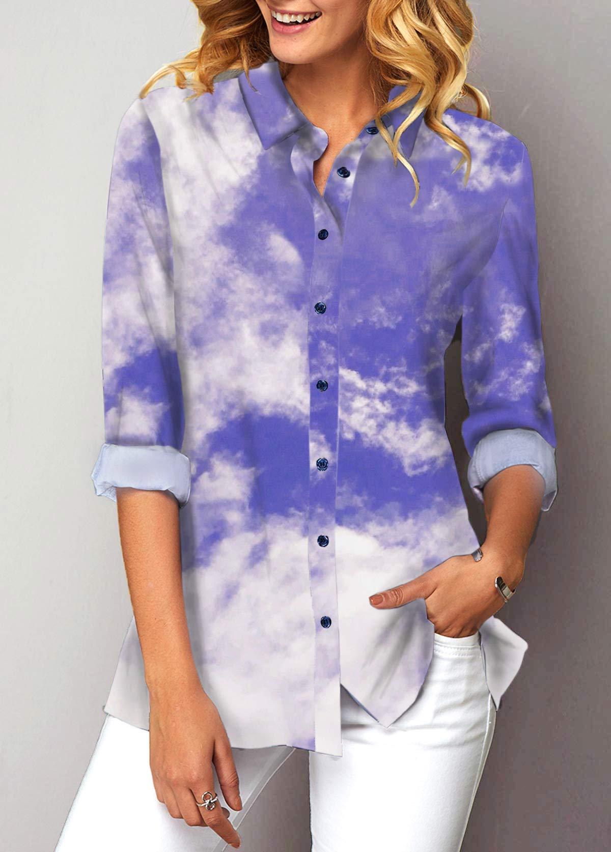 ROTITA Cloud Print Turndown Collar Button Up Shirt