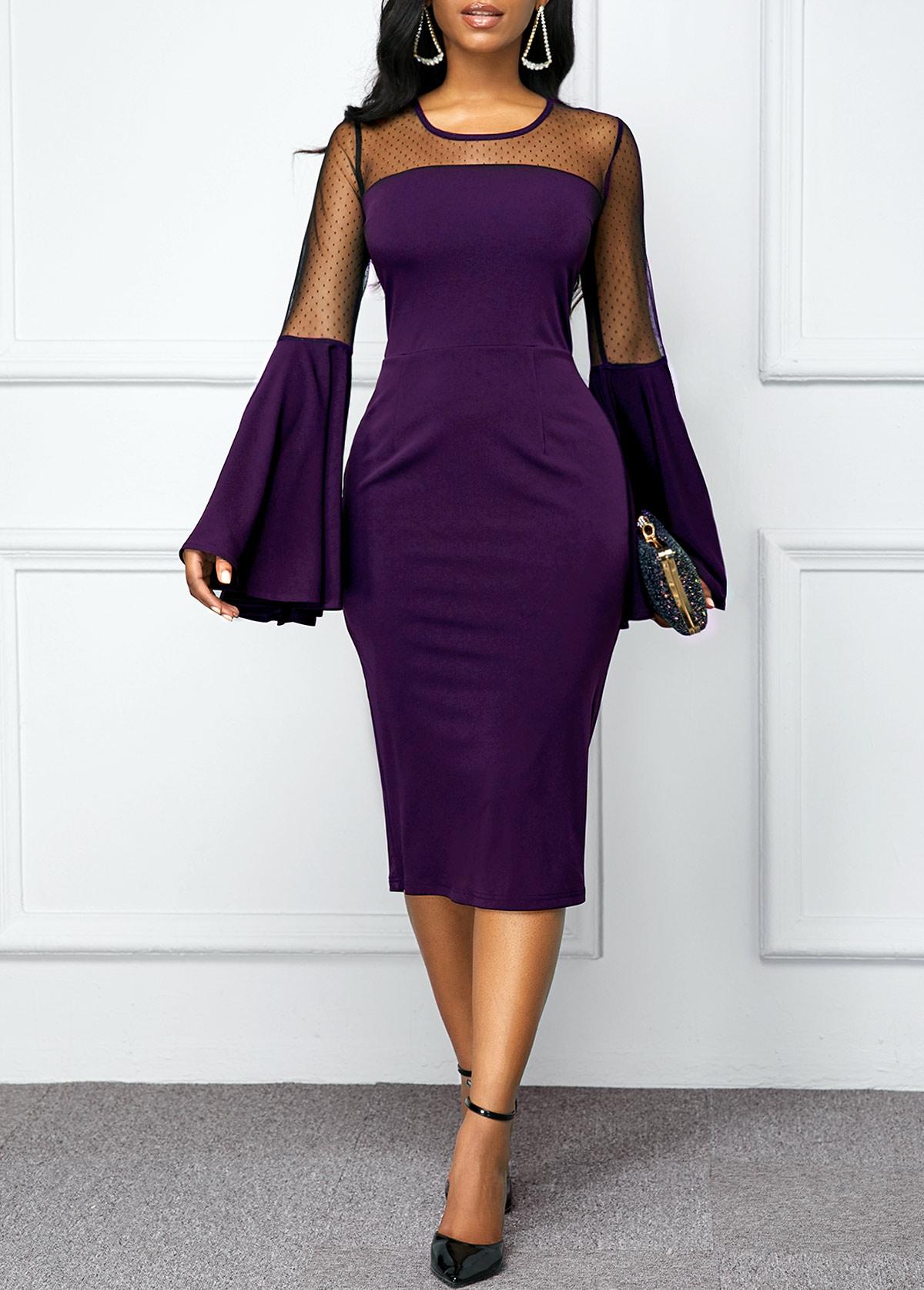 Mesh Patchwork Flare Sleeve Back Zipper Dress
